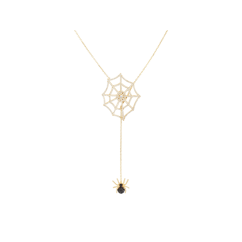 SPIDER AND WEB ELEVATOR PENDANT GOLD VERMEIL