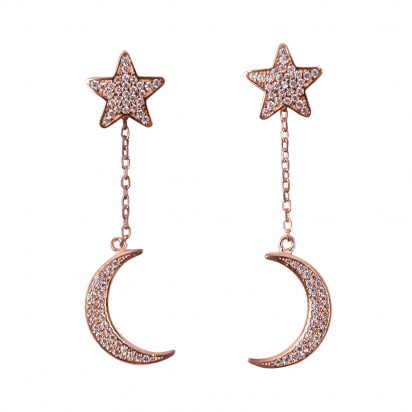STAR AND MOON EARRINGS ROSE GOLD VERMEIL