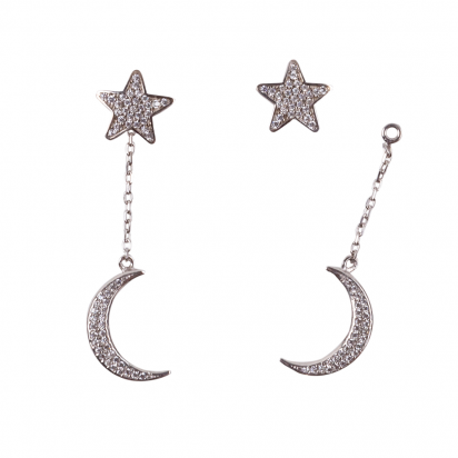 STAR AND MOON EARRINGS SILVER