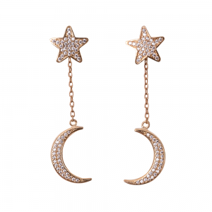 STAR AND MOON EARRINGS GOLD VERMEIL
