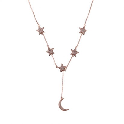 STARS WITH MOON NECKLACE ROSE GOLD VERMEIL