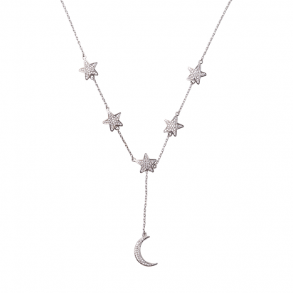 STARS WITH MOON NECKLACE SILVER