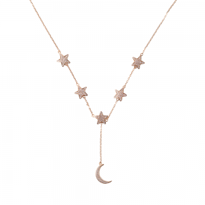 STARS WITH MOON NECKLACE GOLD VERMEIL