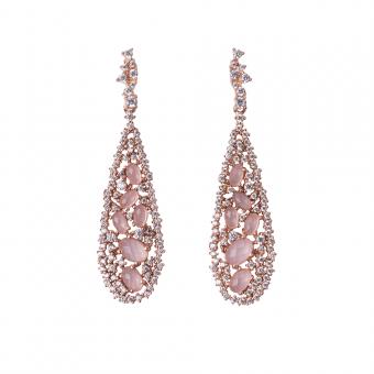 TEARDROP EARRINGS ROSE GOLD VERMEIL PINK CZ STONES