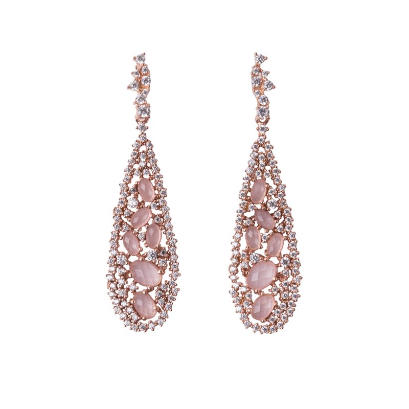 TEARDROP EARRINGS ROSE GOLD VERMEIL PINK CZ STONES