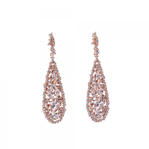 TEARDROP EARRINGS ROSE GOLD VERMEIL WHITE CZ STONES