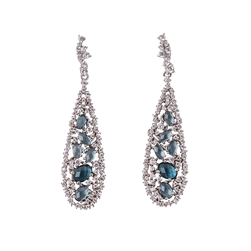 TEARDROP EARRINGS SILVER BLUE CZ STONES