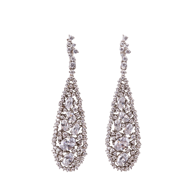 TEARDROP EARRINGS SILVER WHITE CZ STONES