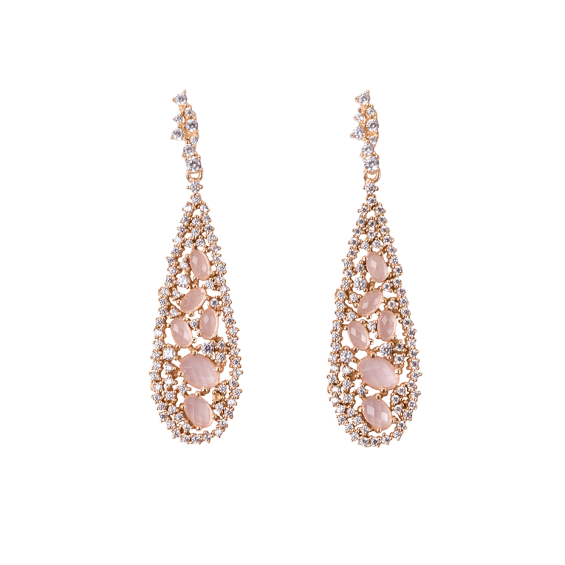 TEARDROP EARRINGS GOLD VERMEIL PINK CZ STONES