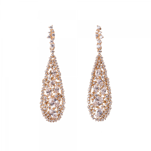 TEARDROP EARRINGS GOLD VERMEIL WHITE CZ STONES