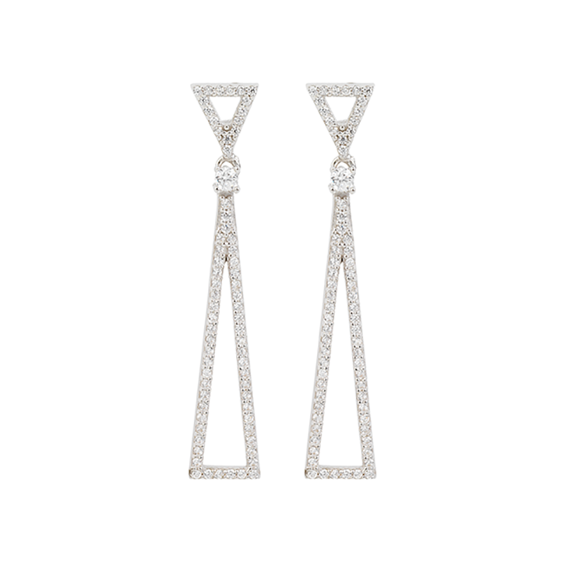 TRIANGLE EARRINGS WHITE RHODIUM